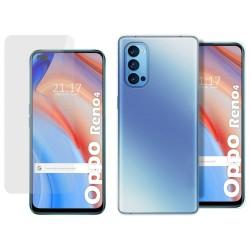 Pack 2 En 1 Funda Gel Transparente + Protector Cristal Templado para Oppo Reno 4 5G