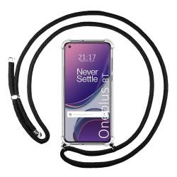 Funda Colgante Transparente para OnePlus 8T 5G con Cordon Negro