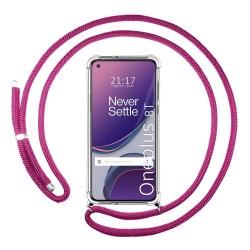 Funda Colgante Transparente para OnePlus 8T 5G con Cordon Rosa Fucsia