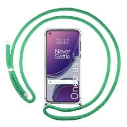 Funda Colgante Transparente para OnePlus 8T 5G con Cordon Verde Agua