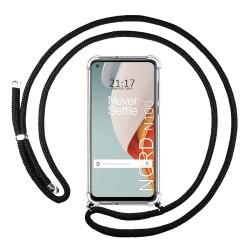 Funda Colgante Transparente para OnePlus Nord N100 con Cordon Negro