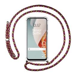 Funda Colgante Transparente para OnePlus Nord N100 con Cordon Rosa / Dorado