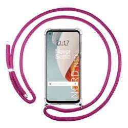 Funda Colgante Transparente para OnePlus Nord N100 con Cordon Rosa Fucsia