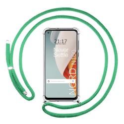 Funda Colgante Transparente para OnePlus Nord N100 con Cordon Verde Agua