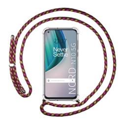 Funda Colgante Transparente para OnePlus Nord N10 5G con Cordon Rosa / Dorado