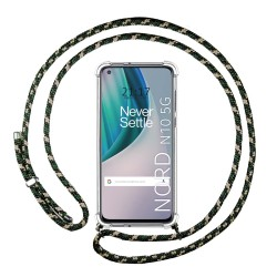 Funda Colgante Transparente para OnePlus Nord N10 5G con Cordon Verde / Dorado