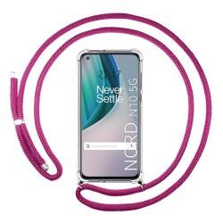 Funda Colgante Transparente para OnePlus Nord N10 5G con Cordon Rosa Fucsia