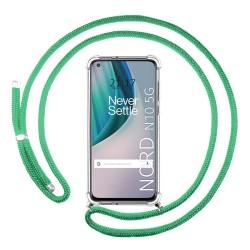 Funda Colgante Transparente para OnePlus Nord N10 5G con Cordon Verde Agua