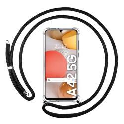 Funda Colgante Transparente para Samsung Galaxy A42 5G con Cordon Negro