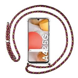 Funda Colgante Transparente para Samsung Galaxy A42 5G con Cordon Rosa / Dorado