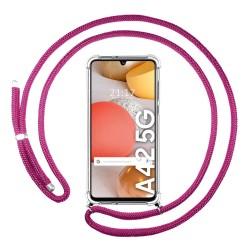 Funda Colgante Transparente para Samsung Galaxy A42 5G con Cordon Rosa Fucsia