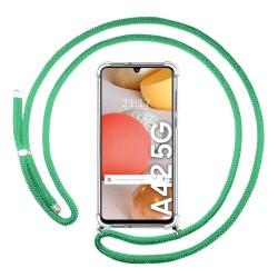 Funda Colgante Transparente para Samsung Galaxy A42 5G con Cordon Verde Agua