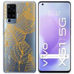 Funda Gel Transparente para Vivo X51 5G diseño Hojas Dibujos