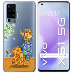 Funda Gel Transparente para Vivo X51 5G diseño Jirafa Dibujos