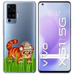 Funda Gel Transparente para Vivo X51 5G diseño Tigre Dibujos
