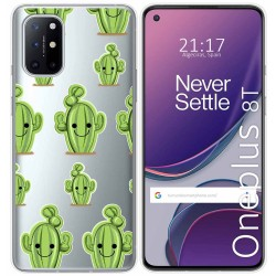 Funda Gel Transparente para OnePlus 8T 5G diseño Cactus Dibujos