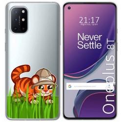 Funda Gel Transparente para OnePlus 8T 5G diseño Tigre Dibujos