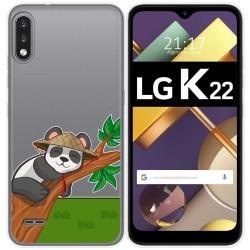 Funda Gel Transparente para Lg K22 diseño Panda Dibujos