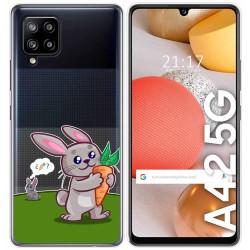 Funda Gel Transparente para Samsung Galaxy A42 5G diseño Conejo Dibujos