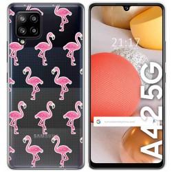 Funda Gel Transparente para Samsung Galaxy A42 5G diseño Flamenco Dibujos