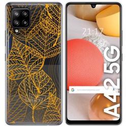 Funda Gel Transparente para Samsung Galaxy A42 5G diseño Hojas Dibujos