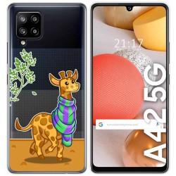 Funda Gel Transparente para Samsung Galaxy A42 5G diseño Jirafa Dibujos