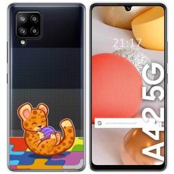 Funda Gel Transparente para Samsung Galaxy A42 5G diseño Leopardo Dibujos