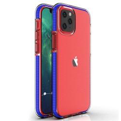 Funda Silicona Gel Tpu transparente con Marco Azul para Iphone 12 Mini (5.4)