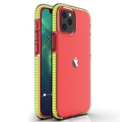 Funda Silicona Gel Tpu transparente con Marco Amarillo para Iphone 12 Mini (5.4)