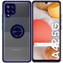 Funda Mate con Borde Azul y Anillo Giratorio 360 para Samsung Galaxy A42 5G