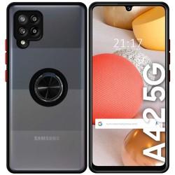 Funda Mate con Borde Negra y Anillo Giratorio 360 para Samsung Galaxy A42 5G