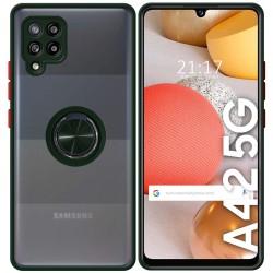 Funda Mate con Borde Verde y Anillo Giratorio 360 para Samsung Galaxy A42 5G