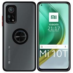 Funda Mate con Borde Negra y Anillo Giratorio 360 para Xiaomi Mi 10T / 10T Pro