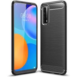 Funda Gel Tpu Tipo Carbon Negra para Huawei P Smart 2021