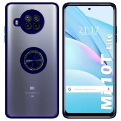 Funda Mate con Borde Azul y Anillo Giratorio 360 para Xiaomi Mi 10T Lite