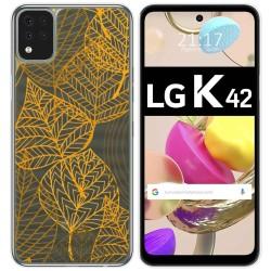 Funda Gel Transparente para LG K42 diseño Hojas Dibujos