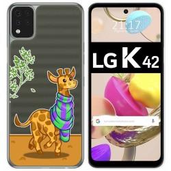 Funda Gel Transparente para LG K42 diseño Jirafa Dibujos