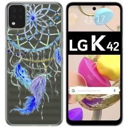 Funda Gel Transparente para LG K42 diseño Plumas Dibujos