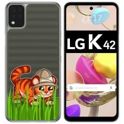 Funda Gel Transparente para LG K42 diseño Tigre Dibujos
