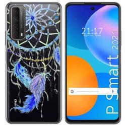 Funda Gel Transparente para Huawei P Smart 2021 diseño Plumas Dibujos