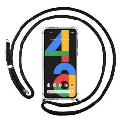Funda Colgante Transparente para Google Pixel 4a con Cordon Negro