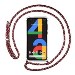 Funda Colgante Transparente para Google Pixel 4a con Cordon Rosa / Dorado