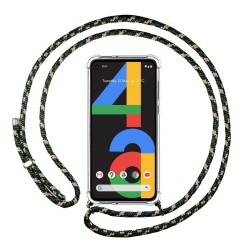 Funda Colgante Transparente para Google Pixel 4a con Cordon Verde / Dorado