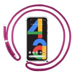 Funda Colgante Transparente para Google Pixel 4a con Cordon Rosa Fucsia