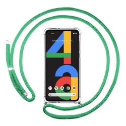 Funda Colgante Transparente para Google Pixel 4a con Cordon Verde Agua