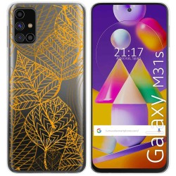 Funda Gel Transparente para Samsung Galaxy M31s diseño Hojas Dibujos