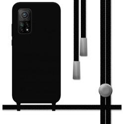 Funda Silicona Líquida con Cordón para Xiaomi Mi 10T / Mi 10T Pro color Negra