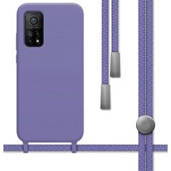 Funda Silicona Líquida con Cordón para Xiaomi Mi 10T / Mi 10T Pro color Morada