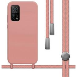 Funda Silicona Líquida con Cordón para Xiaomi Mi 10T / Mi 10T Pro color Rosa