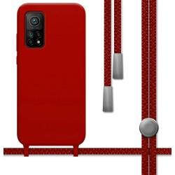 Funda Silicona Líquida con Cordón para Xiaomi Mi 10T / Mi 10T Pro color Roja